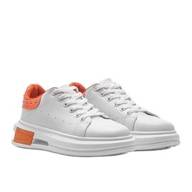 Biało pomarańczowe sneakersy damskie Taranto białe 4