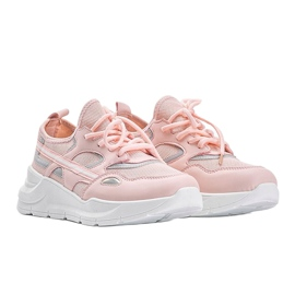 Różowe sneakersy sportowe Lativia białe 3