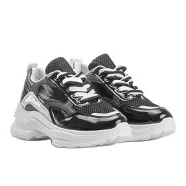 Czarne sneakersy z holograficznymi wstawkami Karlie białe 1