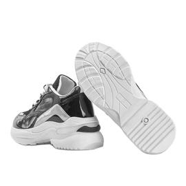 Czarne sneakersy z holograficznymi wstawkami Karlie białe 2