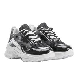 Czarne sneakersy z holograficznymi wstawkami Karlie białe 4