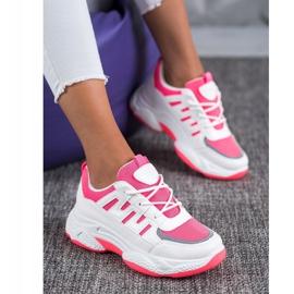 SHELOVET Wygodne Sneakersy Z Siateczką BH-001RO białe różowe 4