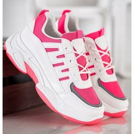 SHELOVET Wygodne Sneakersy Z Siateczką BH-001RO białe różowe 3