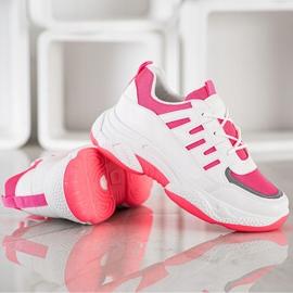 SHELOVET Wygodne Sneakersy Z Siateczką BH-001RO białe różowe 2