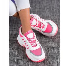 SHELOVET Wygodne Sneakersy Z Siateczką BH-001RO białe różowe 1