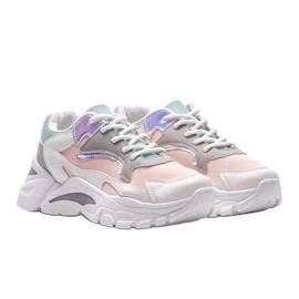 Biało-różowe sneakersy sportowe Lesly białe 1