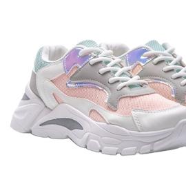 Biało-różowe sneakersy sportowe Lesly białe 2