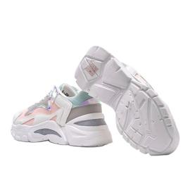 Biało-różowe sneakersy sportowe Lesly białe 3
