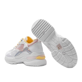 Białe sneakersy z holograficznymi wstawkami Karlie różowe 2