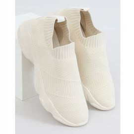 Buty sportowe skarpetkowe beżowe NB399 Beige beżowy 1
