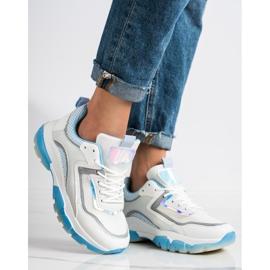 Ideal Shoes Sneakersy Z Brokatową Wstawką białe wielokolorowe 2