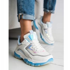 Ideal Shoes Sneakersy Z Brokatową Wstawką białe wielokolorowe 1