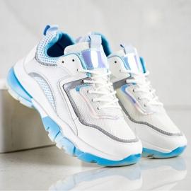 Ideal Shoes Sneakersy Z Brokatową Wstawką białe wielokolorowe 4
