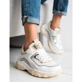 Ideal Shoes Sneakersy Z Brokatową Wstawka białe wielokolorowe 4