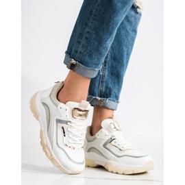 Ideal Shoes Sneakersy Z Brokatową Wstawka białe wielokolorowe 1