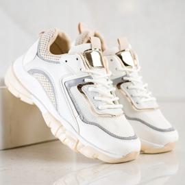 Ideal Shoes Sneakersy Z Brokatową Wstawka białe wielokolorowe 2