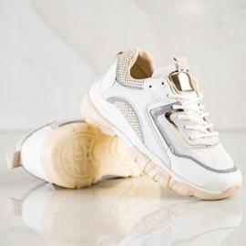 Ideal Shoes Sneakersy Z Brokatową Wstawka białe wielokolorowe 3