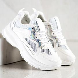 SHELOVET Białe Sneakersy Na Platformie 2