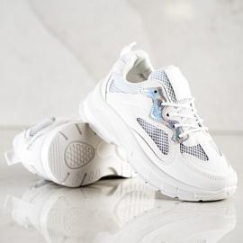 SHELOVET Białe Sneakersy Na Platformie 3