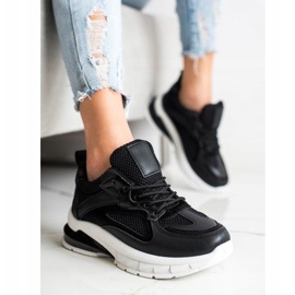 SHELOVET Czarne Sneakersy Na Platformie 1