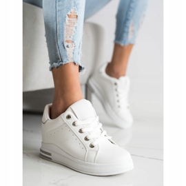 SHELOVET Białe Sneakersy Na Koturnie 1