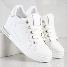SHELOVET Białe Sneakersy Na Koturnie 3