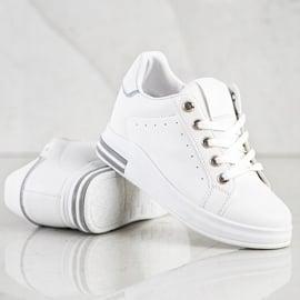 SHELOVET Białe Sneakersy Na Koturnie 4