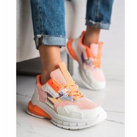 SHELOVET Modne Sneakersy 70303 białe pomarańczowe 4