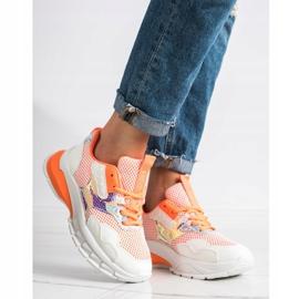 SHELOVET Modne Sneakersy 70303 białe pomarańczowe 1