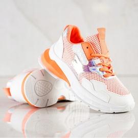SHELOVET Modne Sneakersy 70303 białe pomarańczowe 2