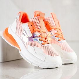 SHELOVET Modne Sneakersy 70303 białe pomarańczowe 3
