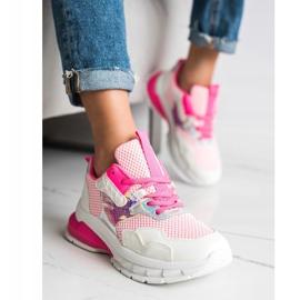SHELOVET Modne Sneakersy białe różowe 2
