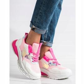 SHELOVET Modne Sneakersy białe różowe 3