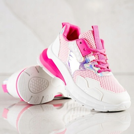 SHELOVET Modne Sneakersy białe różowe 4