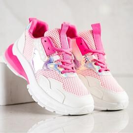 SHELOVET Modne Sneakersy białe różowe 5