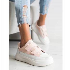 SHELOVET Wygodne Sneakersy Na Rzep białe różowe 1