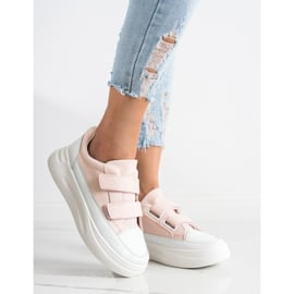 SHELOVET Wygodne Sneakersy Na Rzep białe różowe 2