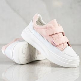 SHELOVET Wygodne Sneakersy Na Rzep białe różowe 3
