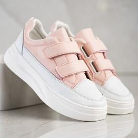 SHELOVET Wygodne Sneakersy Na Rzep białe różowe 4