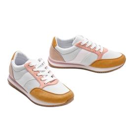 Białe klasyczne tenisówki z żółtym Aniya różowe żółte 2