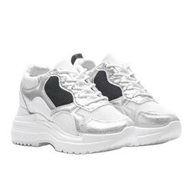 Białe sneakersy na koturnie Alexandra czarne srebrny 1