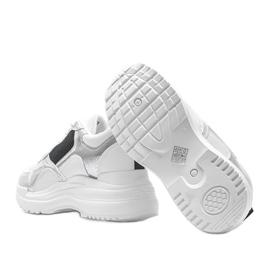 Białe sneakersy na koturnie Alexandra czarne srebrny 2