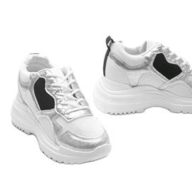 Białe sneakersy na koturnie Alexandra czarne srebrny 3