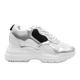 Białe sneakersy na koturnie Alexandra czarne srebrny 4