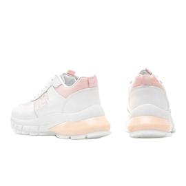 Biało-różowe sneakersy sportowe Dana białe 2
