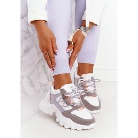 EVE Damskie Sneakersy Na Masywnej Podeszwie Białe Power szare 2
