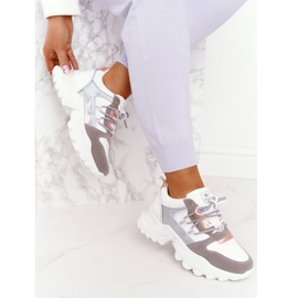 EVE Damskie Sneakersy Na Masywnej Podeszwie Białe Power szare 3