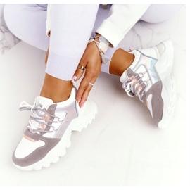 EVE Damskie Sneakersy Na Masywnej Podeszwie Białe Power szare 4