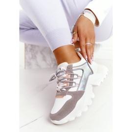 EVE Damskie Sneakersy Na Masywnej Podeszwie Białe Power szare 7