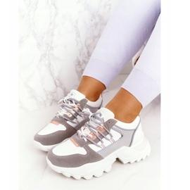 EVE Damskie Sneakersy Na Masywnej Podeszwie Białe Power szare 5